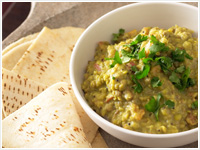 Dhal with naan bread