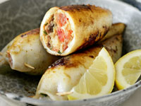 Squid stuffed with fetta, parsley and chorizo