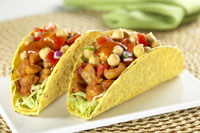 Chicken and chick pea salad taco