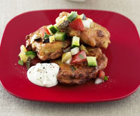 Chickpea fritters with tomato and olive salsa
