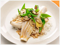 Chinese steamed fish and vgetables