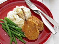 Crumbed cutlets with creamy mash