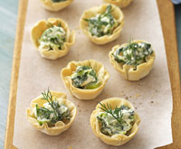 Fetta and spinach filo cases