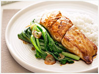 Glazed fish with choy sum