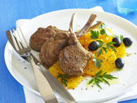 Moroccan lamb cutlets with orange and olive salad