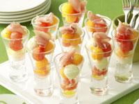 Melon, bocconcini and prosciutto salad