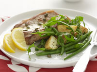 Pork steaks with caper and lemon sauce
