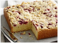 Raspberry and almond slab cake