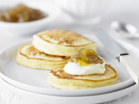 Ricotta pancakes with fig jam and cream