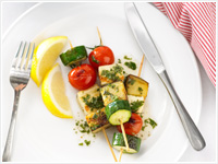 Vegetable and haloumi skewers
