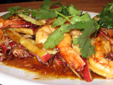 Barbecue prawns with honey, soy and ginger