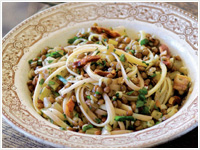 Linguine with lentils and pancetta