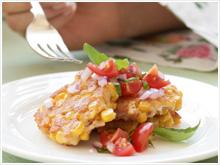 Tuna and corn cakes with tomato salsa