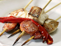 Chorizo and fish kebabs