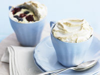 Blueberry & raspberry custard meringue pots