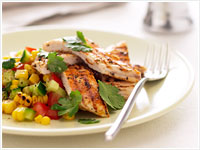 Cajun chicken with grilled corn salsa