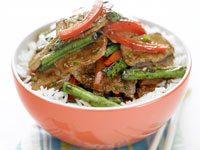 Lamb, bean and capsicum stir-fry