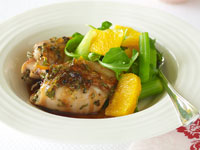 Roasted orange chicken with orange and rocket salad
