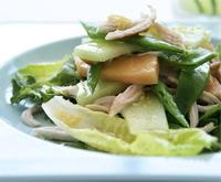 Smoked chicken, snow pea and melon salad