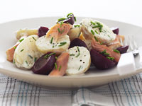 Smoked trout, beetroot and potato salad