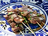Lamb kebabs with pita and baba ghanoush