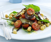 Chickpea, eggplant and tomato salad