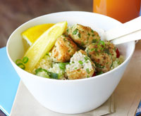 Chicken balls with couscous salad