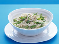 Luke Mangan's green curry of prawns with jasmine rice, fried shallots and peas