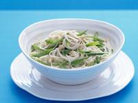 Luke Mangan's green curry of prawns with jasmine rice, fried shallots and peas