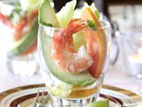 Prawn, avocado and papaya cocktails