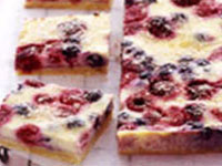 Raspberry and blueberry custard slice