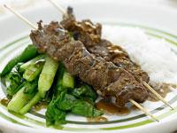 Szechuan beef skewers