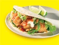 Skewered chicken soft taco