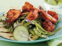 Tandoori Prawns with Green Salad, Grilled Naan and Cumin Yogurt