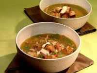 Pumpkin peas and ham soup with croutons