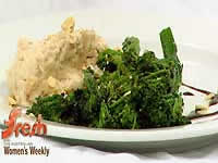 White bean puree with broccolini and hazelnuts