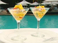 Lobster martini with mango and young coconut