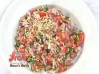 Borlotti bean, brown rice and almond salad