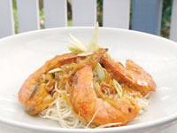 Chilli prawns on long life noodles