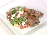 Avocado, bean and tomato salad with greek lamb chops