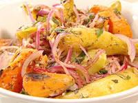 Warm potato and kumara salad