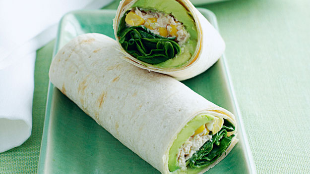 Tuna and sweet corn wrap