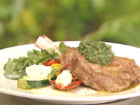 Veal cutlet with salsa verde and meditteranean vegetables