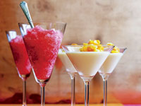 Cosmopolitan granita and coconut cream pannacotta