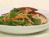 Warm spiced barbecue chicken and noodle Asian salad
