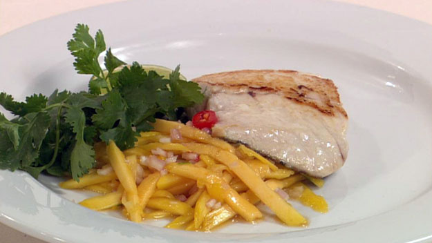 Barbequed fish with green mango relish