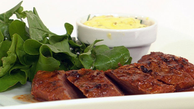 Smoked paprika lamb with green olive mayonnaise
