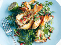 Prawns with lime, chilli and coriander