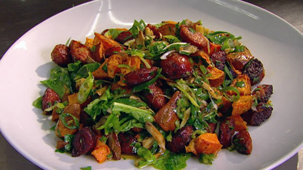 Salad of chorizo, mushroom and roast sweet potato