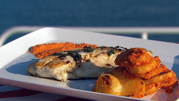 BBQ barramundi with romesco sauce